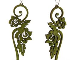 Long Flower Earrings #1015 – Laser Cut Wood Earrings