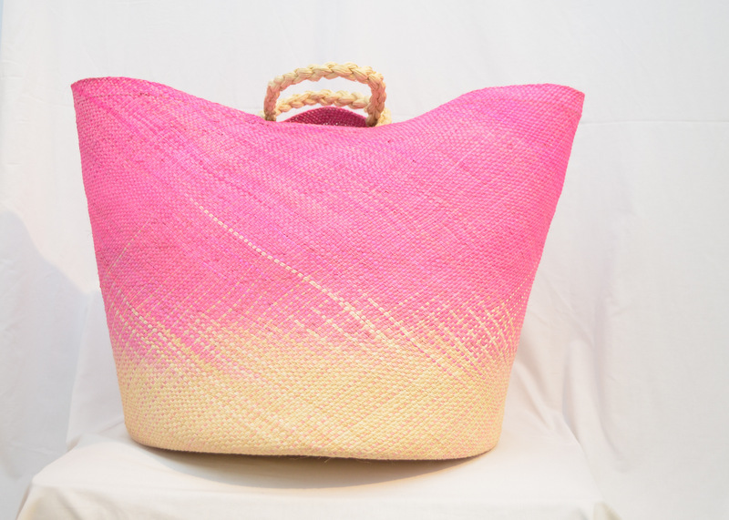 Large Pink Woven Basket w/ Handles in Iraca