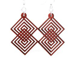 Interlocking Squares #1299 – Laser Cut Earrings from Reforested Wood