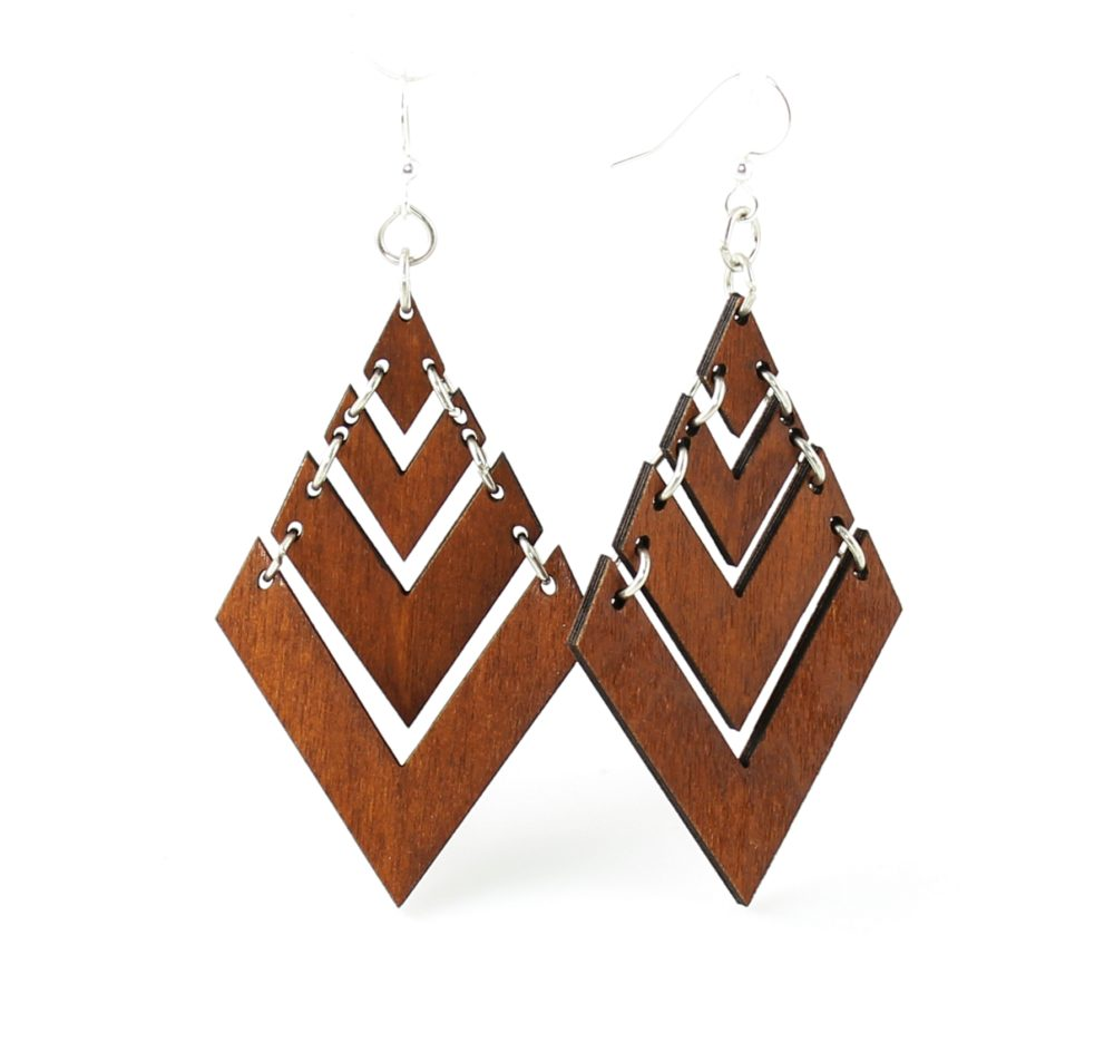 Pyramid Laser Cut Wood Earrings #1440 – Cut from Sustainable Reforested Wood