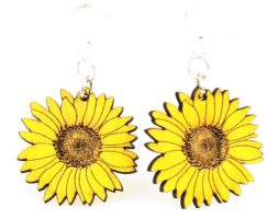 Sunflower Earrings #1475 – Laser Cut from Reforested Wood