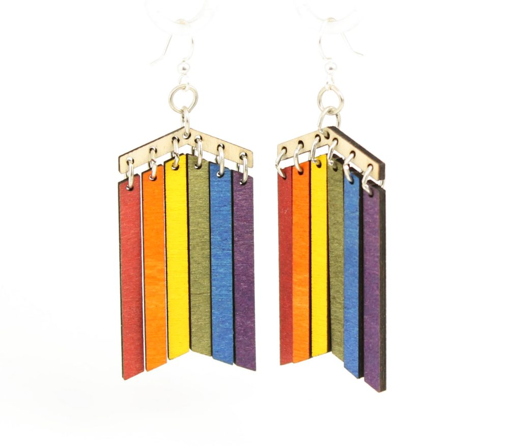 Rainbow Earrings #1476 – Laser Cut from Reforested Trees