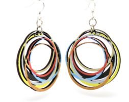 Circle Array Earrings #1524- Laser Cut Wood – Super light weight Earrings