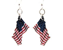 Waving American Flag Earrings #1578
