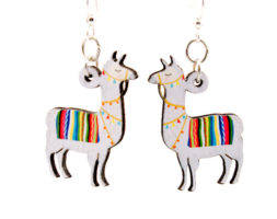 Llama Wood Earrings #1612