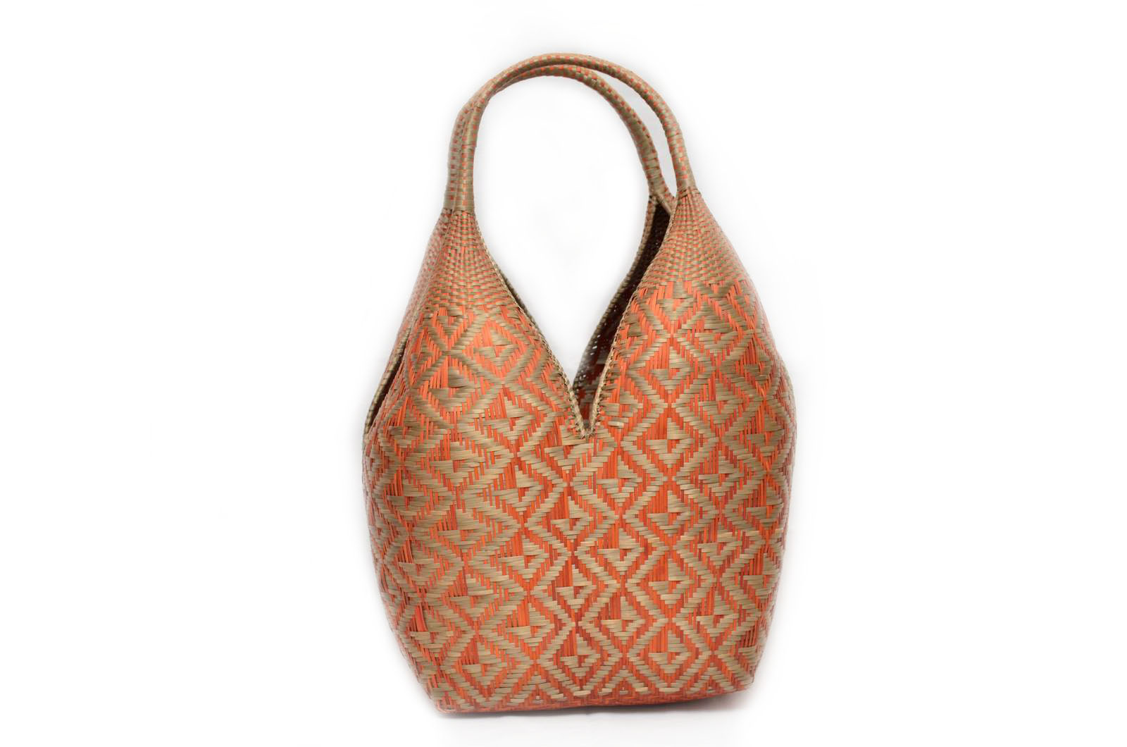 Large Decorative Basket – Orange + Leaf Pattern