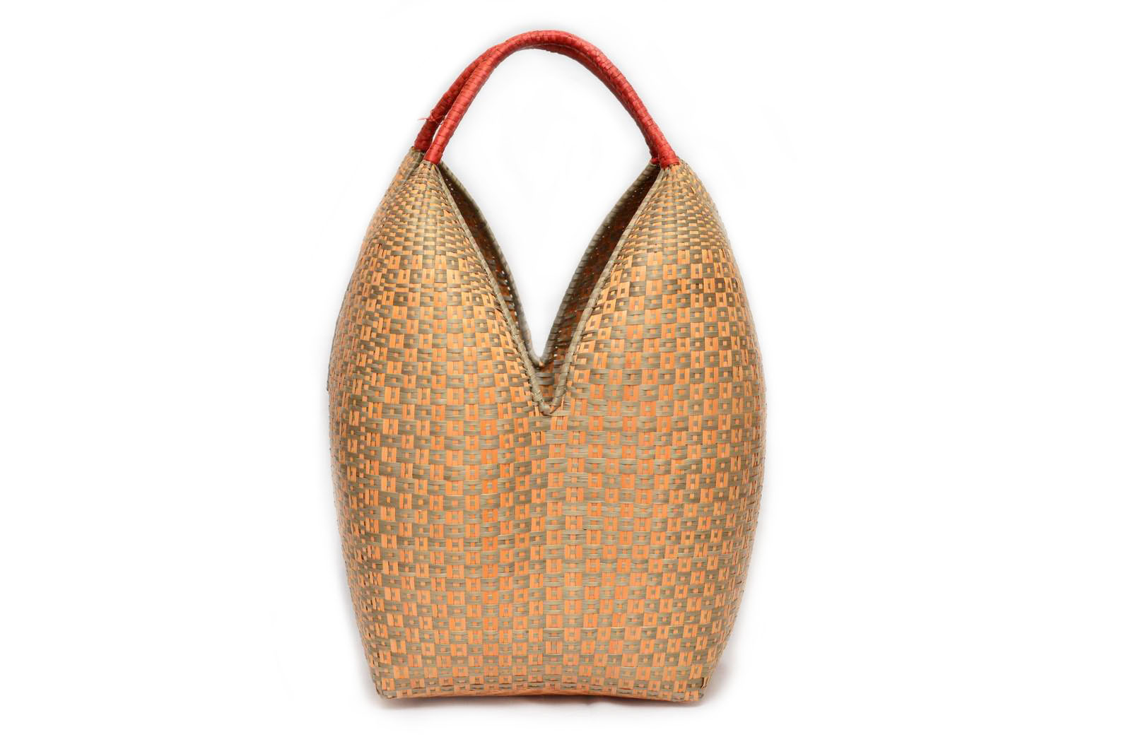 Extra Large Decorative Basket – Tan with Light Green Ant Pattern