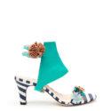 Striped Open Toe Heel + Teal Bianca + Blush Pom Pom