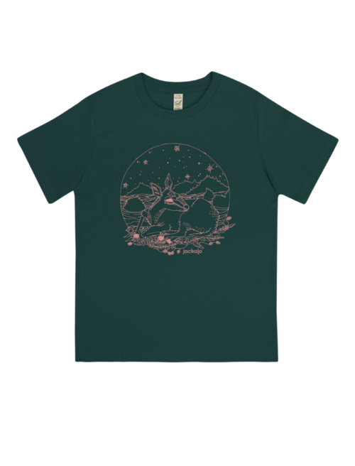 Jackalo Orcas Fawn t-shirt in organic cotton bottle green with pink print