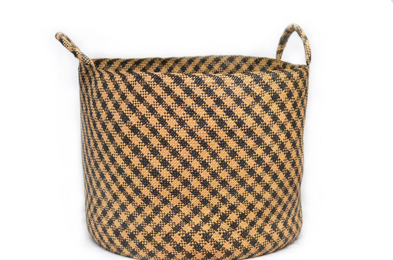 Large Woven Basket w/ Handles in Tan Iraca with Black Stripes