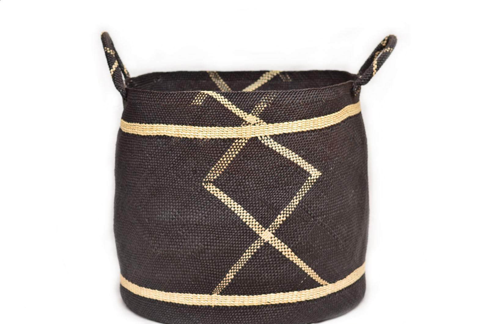 Large Woven Basket w/ Handles in Midnight Blue Iraca and Tan Pattern