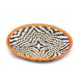 Shallow Bowl in Werregue – Black White + Copper Border