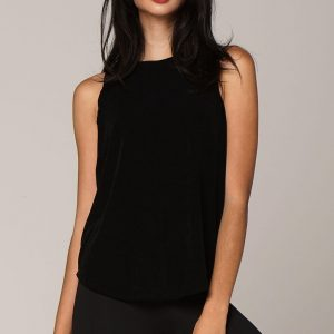 LUNA EVENING TANK BLACK FRONT