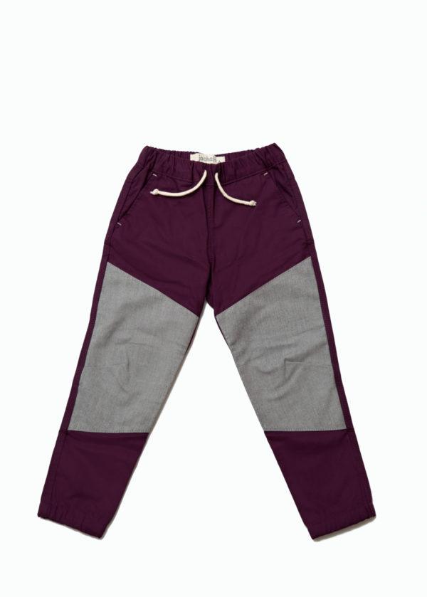 Jackalo Jax pants in berry organic cotton twill