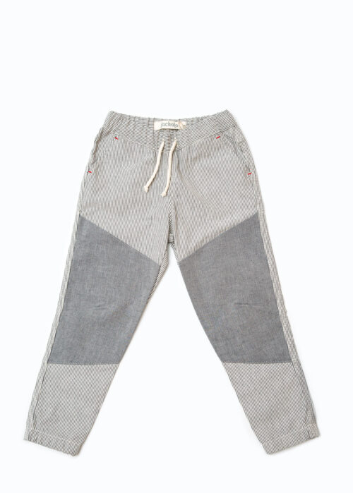 Jackalo Jax pants in engineer's stripe organic cotton twill