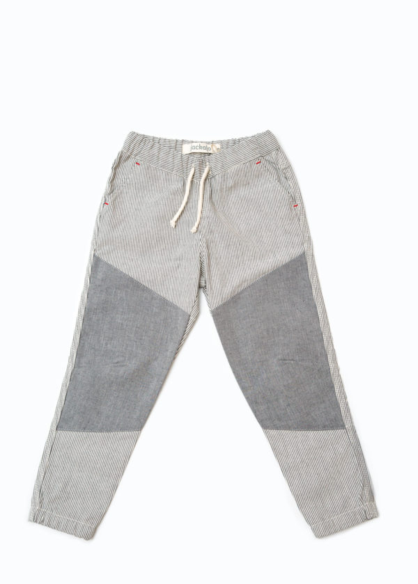 Jackalo Jax pants in engineer's stripe organic cotton twill