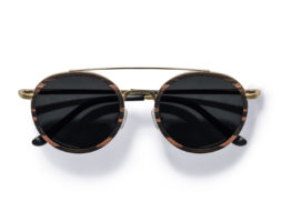 Aspen Gold- Retro-Round Swiss Walnut Wood Sunglasses by Kraywoods