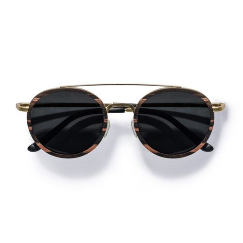 Kraywoods men retro round ebony wood sunglasses polarized