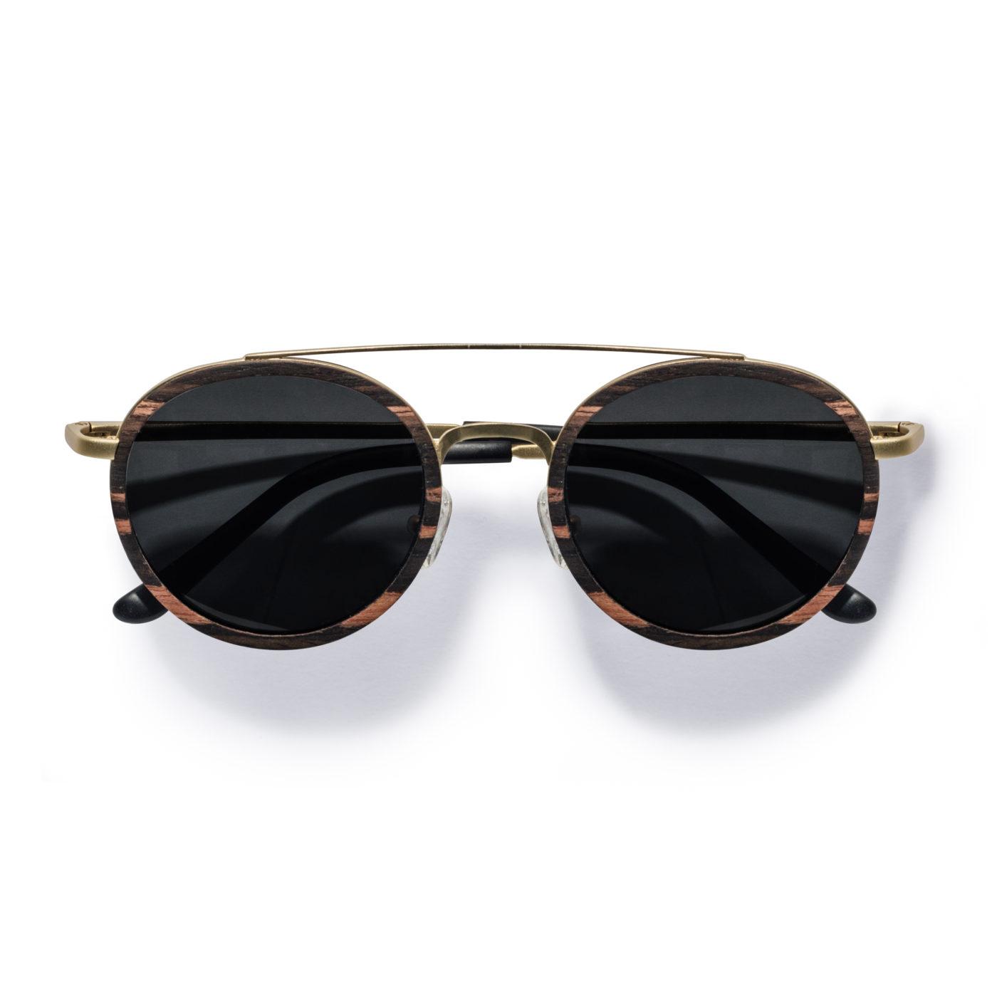 Kraywoods men retro round ebony wood sunglasses polarized