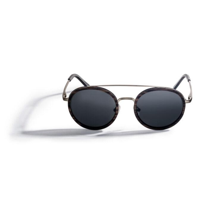 Kraywoods vintage round ebony wood sunglasses, polarized 100% uv protection lenses