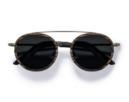 Aspen Silver- Retro Round Swiss Walnut Wood Sunglasses by Kraywoods