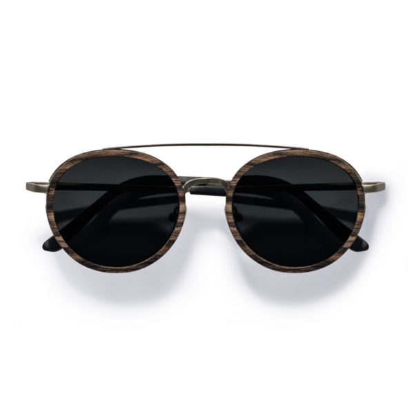 Kraywoods vintage round ebony wood sunglasses, polarized 100% uv protection lenses
