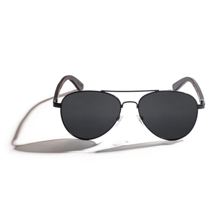 Ebony wood aviator polarized sunglasses for men