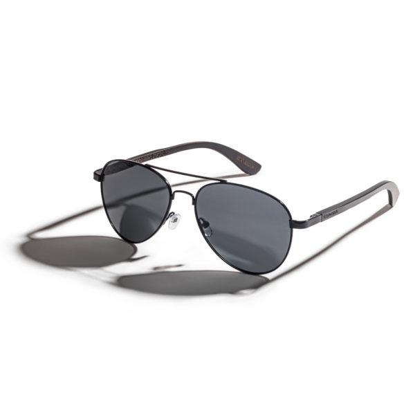 men aviator polarized sunglasses made from ebony wood