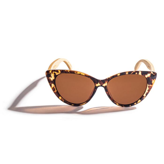 women bamboo sunglasses tortoiseshell cat-eye polarized