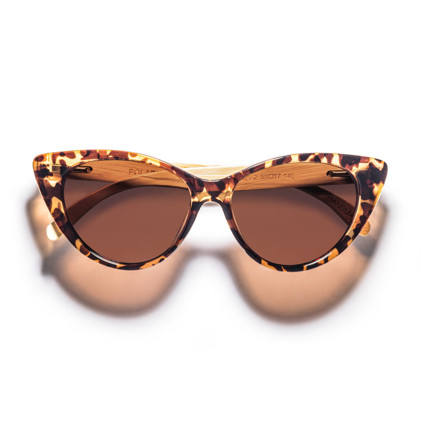 women bamboo sunglasses tortoise cat-eye polarized