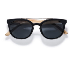 Sienna – Double Bridge Matte Black Bamboo Wood Sunglasses by Kraywoods