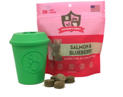 Coffee Cup Durable Rubber Treat Dispenser & Salmon & Blueberry Healthy Grain-Free Soft Treats Combo Pack
