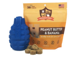 Grenade Durable Rubber Treat Dispenser & Peanut Butter and Banana Healthy Grain-Free Soft Treats Combo Pack