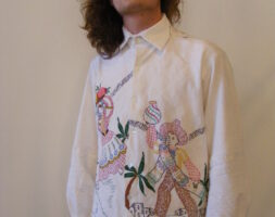 Mens Shirt Hand drawn Mexican People Tablecloth L USA