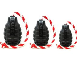 USA-K9 Magnum Grenade Durable Rubber Chew Toy, Treat Dispenser, Reward Toy, Tug Toy, and Retrieving Toy – Black Magnum – XL