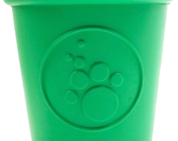 SP Coffee Cup Durable Rubber Chew Toy and Treat Dispenser – Large – Green