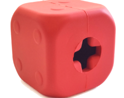 MKB Dice Toy Durable Rubber Chew Toy & Treat Dispenser – Large – Red
