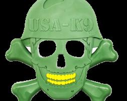USA-K9 Skull & Cross Bones Ultra Durable Nylon Dog Chew Toy for Aggressive Chewers – Green