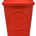 MKB Coffee Cup Durable Rubber Chew Toy & Treat Dispenser – Red – Large