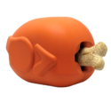 MKB Roasted Turkey Durable Rubber Chew Toy & Treat Dispenser – Large – Orange