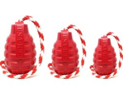 USA-K9 Grenade Durable Rubber Chew Toy, Treat Dispenser, Reward Toy, Tug Toy, and Retrieving Toy – Red – Large