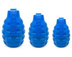 USA-K9 Grenade Durable Rubber Chew Toy & Treat Dispenser – blue – large