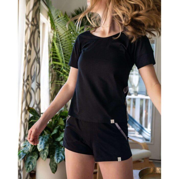 leena and lu pajama short set color black