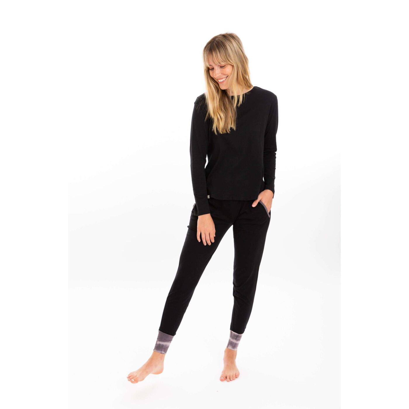 leena and lu long sleeve set black